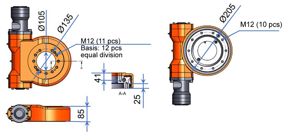 hydraulic rotator mense mer7 measurements