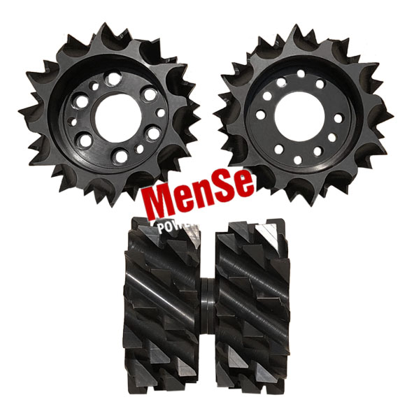 A pair of central upper feed wheels for Komatsu C144 and C164 harvester heads